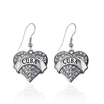 Cuba Pave Heart Earrings French Hook Clear Crystal Rhinestones [Jewelry] - $9.80