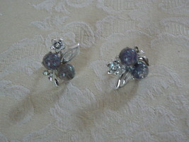 Awesome Vintage Coro Silvertone Iridescent Confetti Ball Screw Type Earr... - $14.84