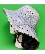 New Light Blue Hand Decorated Floppy Brim Women's Sun Hat - $7.95