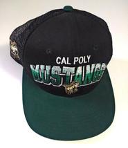 Cal Poly Mustangs Logo Baseball Style Hat Cap Black Green Mesh - $13.98