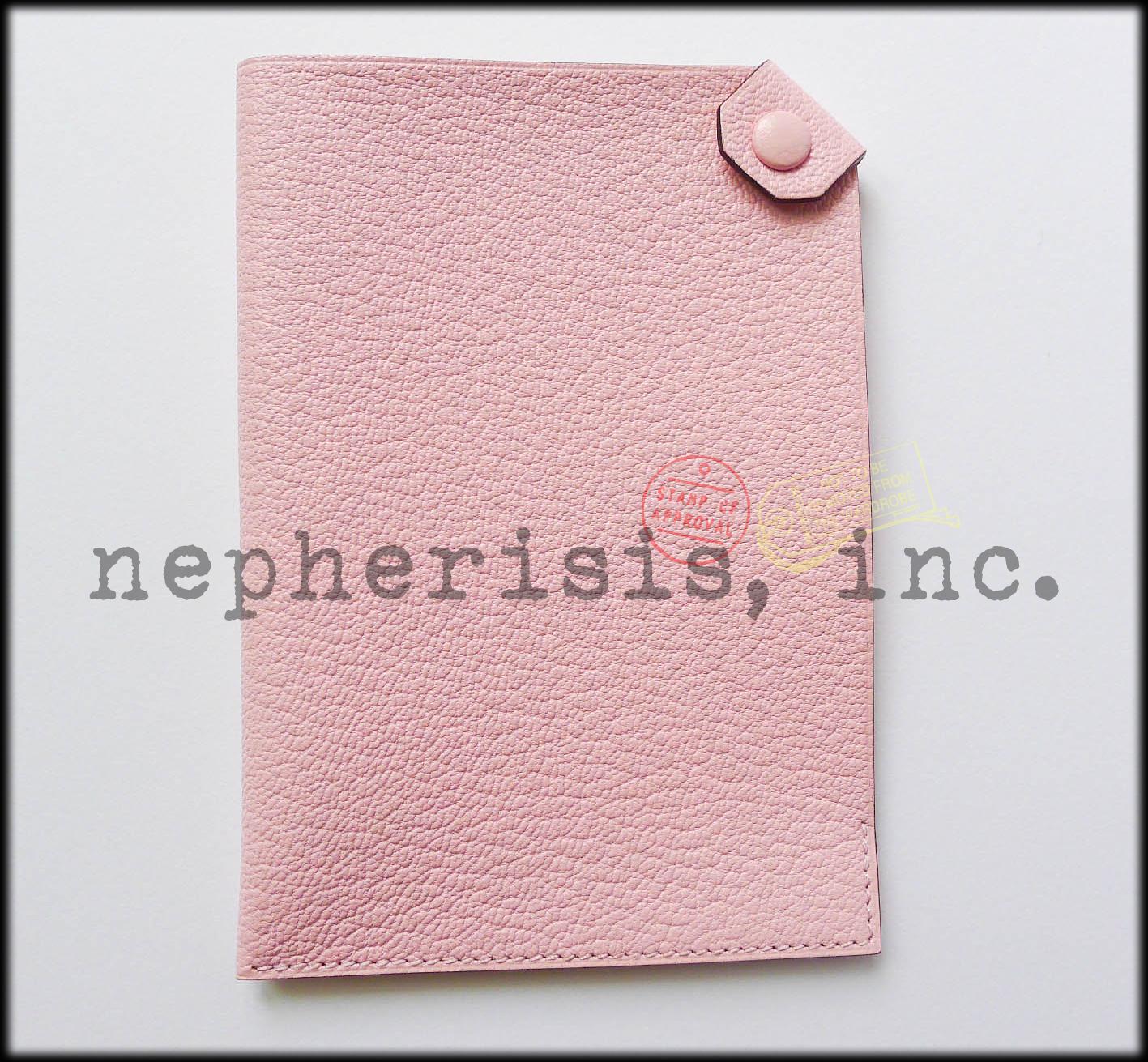 AUTH BNIB Hermes TARMAC PM Passport Holder or Cover in Pink Chevre ROSE SAKURA
