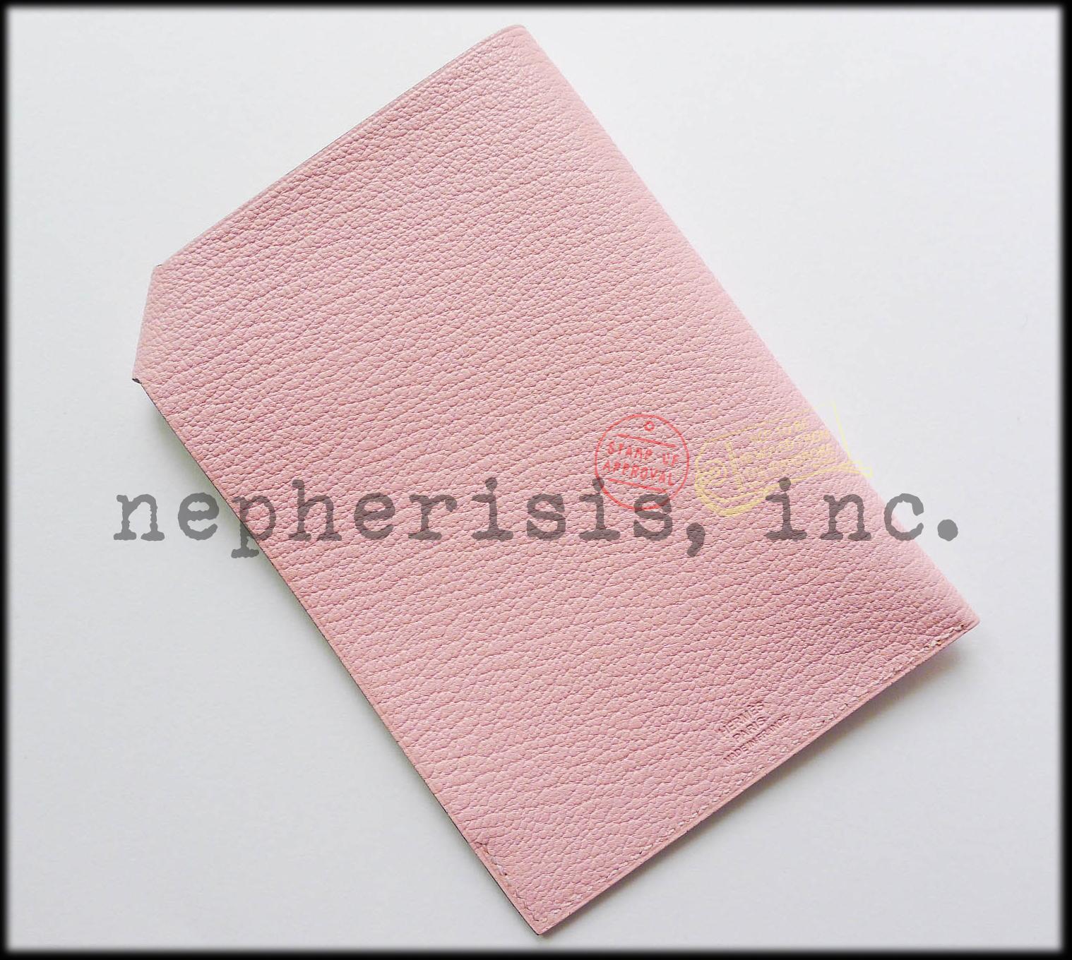AUTH BNIB Hermes TARMAC PM Passport Holder or Cover in Pink Chevre ROSE SAKURA image 2