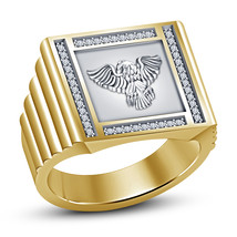 White CZ 14k Yellow Platinum Over 925 Pure Sterling Silver Mens Eagle Ring - $84.27