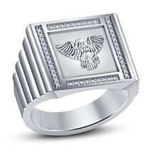 White Diamond 14k White Platinum Over 925 Pure Sterling Silver Mens Eagle Ring - $84.27