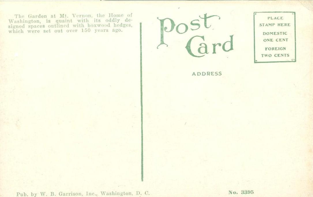 The Garden. Mt Vernon, VA, The Home of Washington, early 1900s unused Postcard