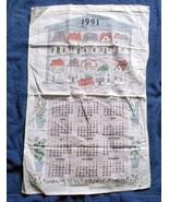 VINTAGE 1991 COTTON CALENDAR KITCHEN TOWEL HERBS & SPICES DILL NUTMEG THYME - $14.80