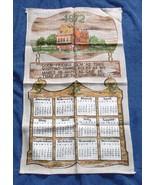 VINTAGE 1974 LINEN CALENDAR KITCHEN TOWEL KITCHEN COUNTER GARLIC OIL SAL... - $14.80