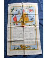 VINTAGE 1985 LINEN CALENDAR KITCHEN TOWEL BIRDS CHICKADEE BUNTING CARDIN... - $14.80