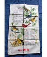 VINTAGE 1982 LINEN CALENDAR KITCHEN TOWEL BIRDS THE SMITHS CARDINAL FINCH - $14.80