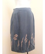 Country Road 6 Skirt Gray Silk Pencil Red Floral - $16.64
