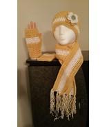 Yellow & White Crochet Hat, Scarf & Fingerless gloves - $50.00