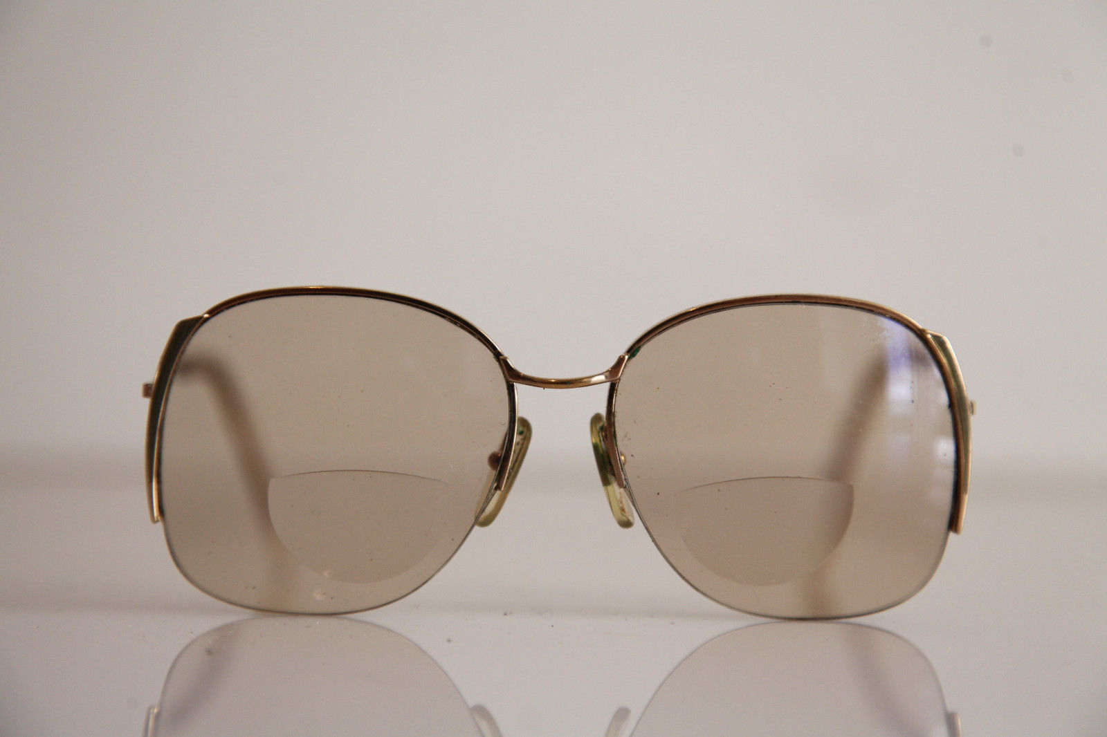 Eyewear, Gold Half Rimless Frame, RX-Able  Tinted Prescription lenses. image 1