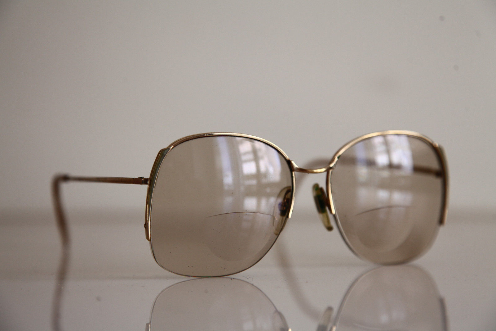 Eyewear, Gold Half Rimless Frame, RX-Able  Tinted Prescription lenses. image 2