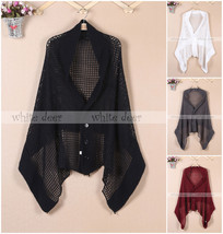Women's Knit Scarf Shawl Cardigan Dual Use Button Fishnet Black White Gray Red - $12.45