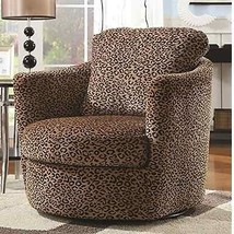 Swivel Accent Chair Leopard Print Design Living Room Lounge Furniture Seating  - $418.61