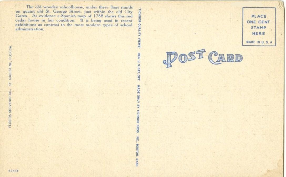 Garden at the Oldest School House, St Augustine, Florida, unused linen Postcard