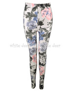 Juniors' Skinny Chinese Oil Paint Flower Floral Print Leggings Stretchy ... - $6.88