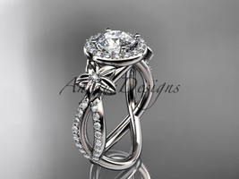 14k white gold leaf and flower diamond engagement ring, wedding ring ADL... - $1,875.00