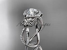 14k white gold leaf and flower diamond engagement ring, wedding ring ADL... - $1,875.00