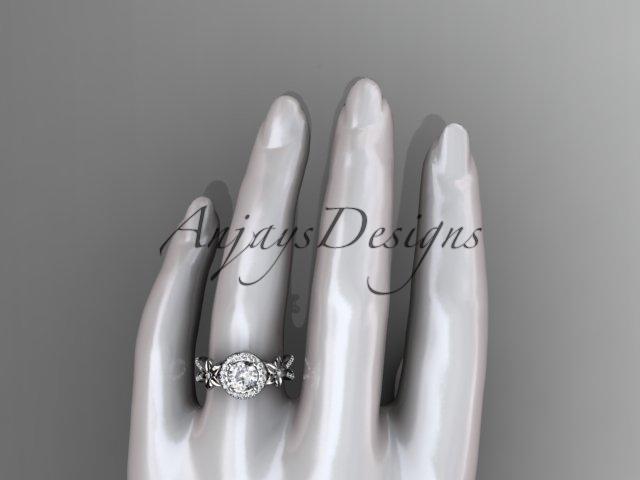 14k white gold leaf and flower diamond engagement ring, wedding ring ADLR374