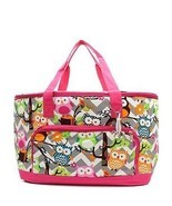 Owl Grey Chevron Stripe Large Insulated Cooler Tote Beach Bag (HOT PINK) - $39.59