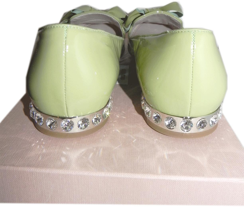 Miu Miu-Prada Lime Patent Leather Bow Ballet Flat Ballerina Shoe 40.5-10 Crystal