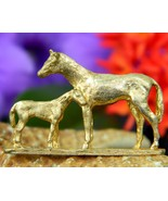 Vintage Horse Brooch Pin Mare Foal Colt Filly Mother Baby Signed - $14.95