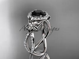 14k white gold diamond wedding ring with a Black Diamonde center stone ADLR374 - $2,175.00