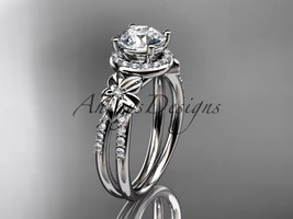 Platinum  diamond engagement ring  with a Moissanite center stone ADLR373 - $2,350.00