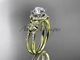 14k yellow gold diamond engagement ring  with a Moissanite center stone ADLR373 - $1,725.00
