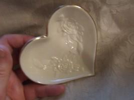 Vintage 1984-86 LENOX Rosebud Small Heart Shaped Dish Gilt Trim - $14.85
