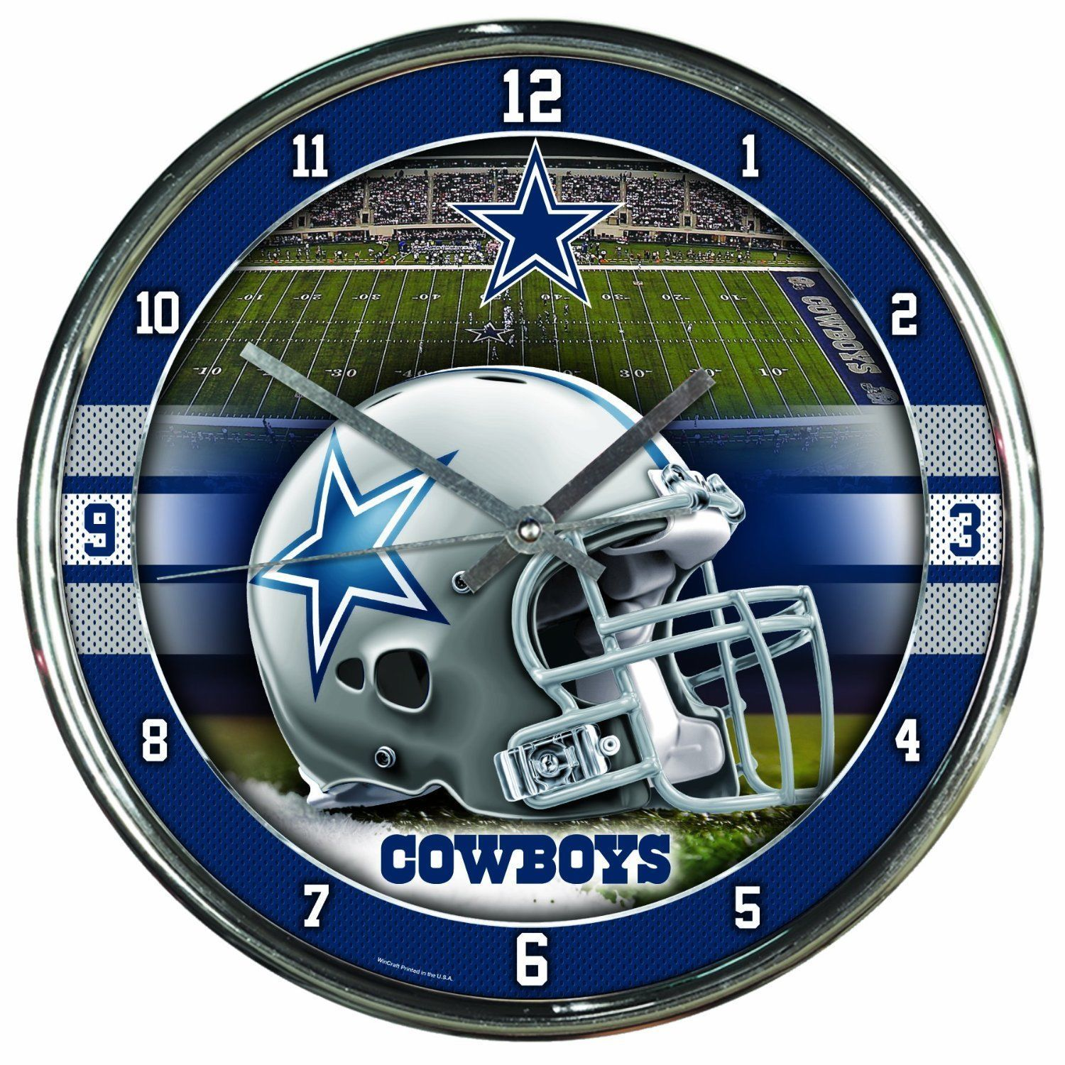 "DALLAS COWBOYS CHROME SILVER 12"" ROUND QUARTZ WALL CLOCK NFL FOOTBALL"