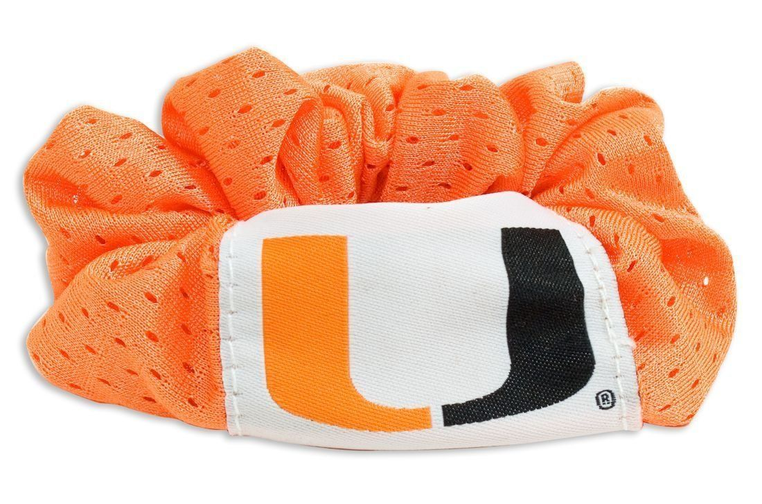 MIAMI HURRICANES SCRUNCHIE HAIR TWIST PONYTAIL HOLDER TEAM SCHOOL LOGO NCAA