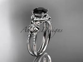 Platinum diamond  wedding ring with a Black Diamonde center stone ADLR373 - $2,400.00