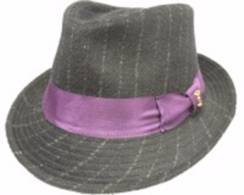 Who Ced The Hill Wool High Roller Fedora WIth Pinstripes Gray Burgundy  ... - $56.00
