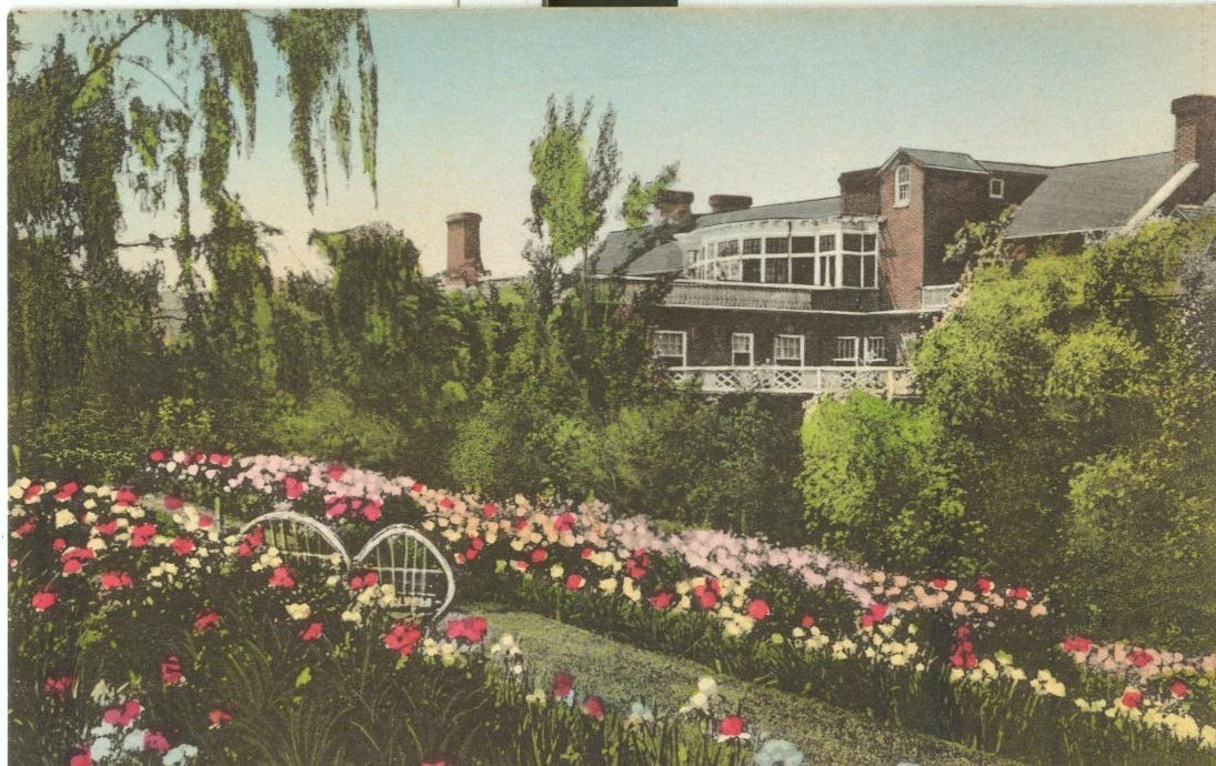 Gardens at the Mimslyn, Hotel of Distinction, Luray, Virginia, unused postcard