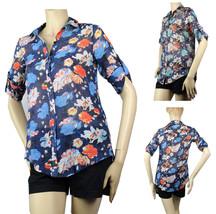 Adjust Slv Floral Print Collar SHIRT Pleat Back Summer Back to School Bl... - $22.99