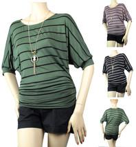 Stitch Side Jersey Stripe Dolman BLOUSE Summer Shirts  w/Necklace Casual... - $18.99