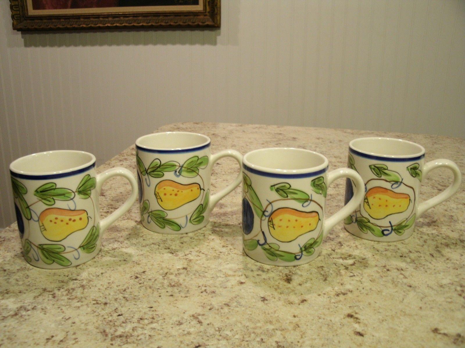 Very Nice Set Of 4 Royal Norfolk Coffee Mugs With Hand