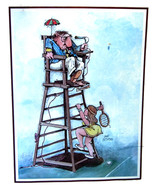 Gary Patterson Art Print  Vintage Over Ruled Mid Century Collectible Art - $14.25