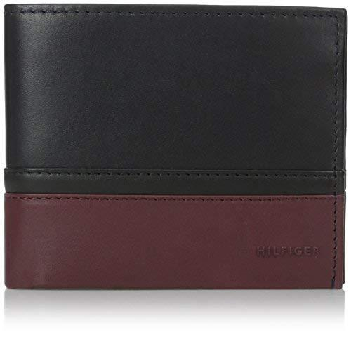 Tommy Hilfiger Men's Nelson Double Billfold, Navy/Black/Oxblood, One Size