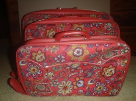 Vintage Set 3 Bantam Travelware Floral Red Paisley Carry On Suitcases Fa... - $93.49