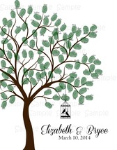 Wedding Thumbprint Tree: Guest Book Alternative, Personalized, 50-100 th... - $12.00