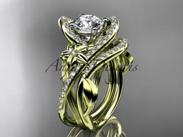 14k yellow gold diamond engagement set with a Moissanite center stone ADLR369S - $2,920.00