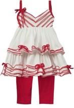 Isobella & Chloe Girls 2pc Top Leggings Size 12 Months Red White Ruffles... - $23.20
