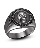 Solid .925 Sterling Silver 14k Black Rhodium Over Skull Men's Ring With ... - £66.89 GBP