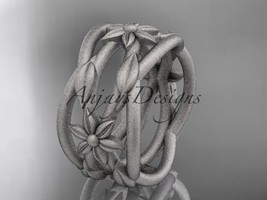 14kt white gold matte finish leaf and vine, flower wedding band ADLR352G - $1,275.00