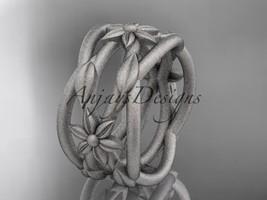 Platinum  matte finish leaf and vine, flower wedding band ADLR352G - $1,825.00