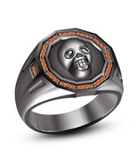 Sapphire Orange Solid 925 Silver 14k Black Rhodium Fn Admirable Biker Sk... - £69.78 GBP