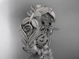 Platinum  matte finish leaf and vine, butterfly wedding band ADLR348G - $1,425.00